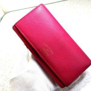 Gucci Fuchsia W Gold Hardware XL Checkbook Size